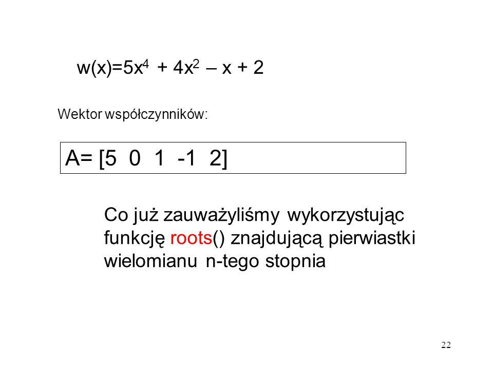 w(x)=5x4 + 4x2 – x + 2 Wektor współczynników: A= [5 0 1 -1 2]